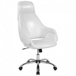 MFO Nash Collection High Back Chair in White Leather
