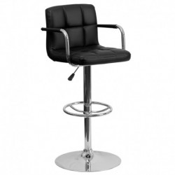 MFO Contemporary Black Quilted Vinyl Adjustable Height Bar Stool with Arms and Chrome Base