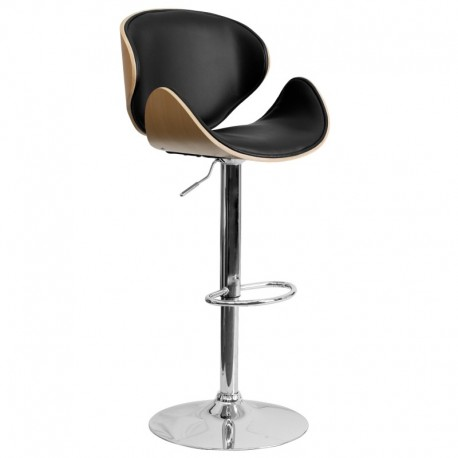MFO Beech Bentwood Adjustable Height Bar Stool with Curved Black Vinyl Seat and Back