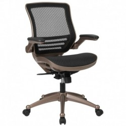 MFO Mid-Back Transparent Black Mesh Executive Swivel Office Chair, Melrose Gold Frame & Flip-Up Arms
