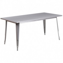 MFO 31.5'' x 63'' Rectangular Silver Metal Indoor-Outdoor Table