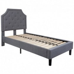 MFO Princeton Collection Twin Size Bed in Light Gray Fabric