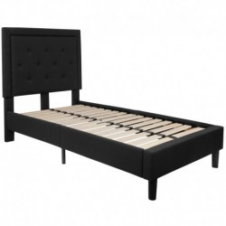 MFO Princeton Collection Twin Size Bed in Black Fabric