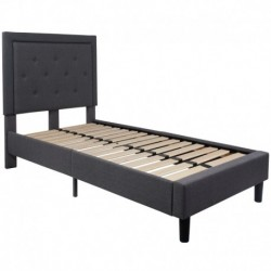 MFO Princeton Collection Twin Size Bed in Dark Gray Fabric