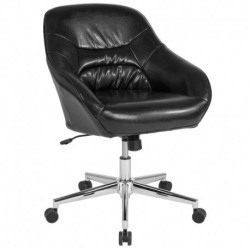 MFO Nash Collection Mid-Back Chair in Black Leather