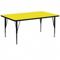 MFO 30''W x 72''L Rectangular Yellow HP Laminate Activity Table - Height Adjustable Short Legs