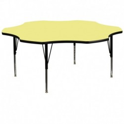 MFO 60'' Flower Yellow Thermal Laminate Activity Table - Height Adjustable Short Legs