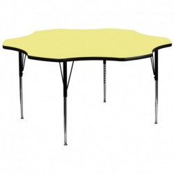 MFO 60'' Flower Yellow Thermal Laminate Activity Table - Standard Height Adjustable Legs