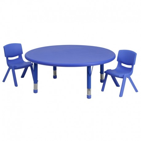 MFO 45'' Round Adjustable Blue Plastic Activity Table Set with 2 School Stack Chairs