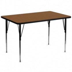 MFO 36''W x 72''L Rectangular Oak HP Laminate Activity Table - Standard Height Adjustable Legs