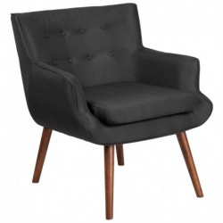 MFO Stanford Collection Black Fabric Tufted Arm Chair