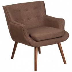MFO Stanford Collection Brown Fabric Tufted Arm Chair
