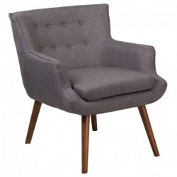MFO Stanford Collection Gray Fabric Tufted Arm Chair