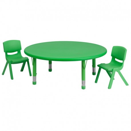 MFO 45'' Round Adjustable Green Plastic Activity Table Set with 2 School Stack Chairs