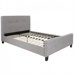 MFO Princeton Collection Full Size Bed in Light Gray Fabric
