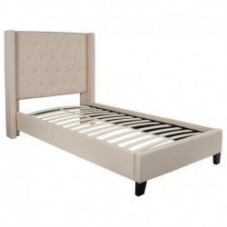 MFO Princeton Collection Twin Size Bed in Beige Fabric