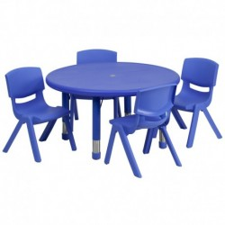 MFO 33'' Round Adjustable Blue Plastic Activity Table Set with 4 School Stack Chairs