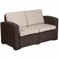 MFO Chocolate Brown Faux Rattan Loveseat with All-Weather Beige Cushions