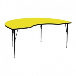 MFO 48''W x 72''L Kidney Yellow HP Laminate Activity Table - Standard Height Adjustable Legs
