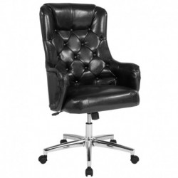 MFO Hugo Collection High Back Chair in Black Leather