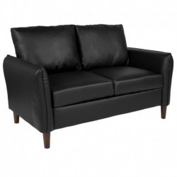 MFO Sir Collection Plush Pillow Back Loveseat in Black Leather
