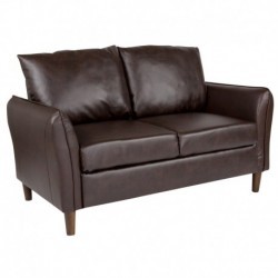 MFO Sir Collection Plush Pillow Back Loveseat in Brown Leather