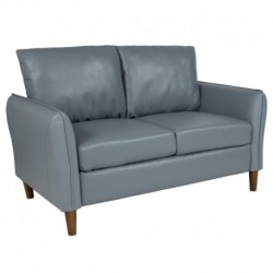 MFO Sir Collection Plush Pillow Back Loveseat in Gray Leather