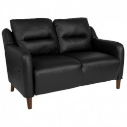 MFO Stanford Collection Bustle Back Loveseat in Black Leather