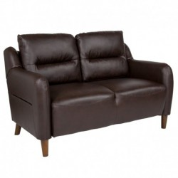 MFO Stanford Collection Bustle Back Loveseat in Brown Leather