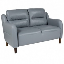 MFO Stanford Collection Bustle Back Loveseat in Gray Leather