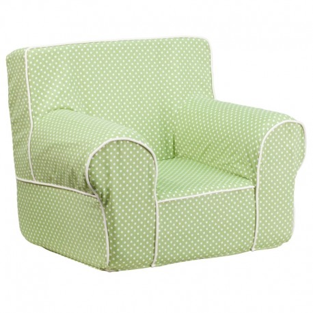 MFO Small Green Dot Kids Chair with White Piping