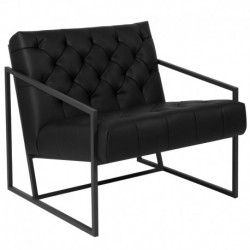 MFO Princeton Collection Black Leather Tufted Lounge Chair