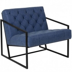 MFO Princeton Collection Retro Blue Leather Tufted Lounge Chair
