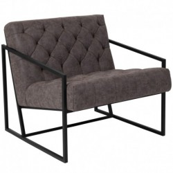 MFO Princeton Collection Retro Gray Leather Tufted Lounge Chair