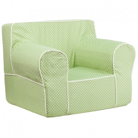 MFO Oversized Green Dot Kids Chair with White Piping