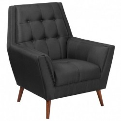 MFO Oxford Collection Contemporary Black Fabric Tufted Arm Chair