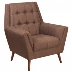 MFO Oxford Collection Contemporary Brown Fabric Tufted Arm Chair