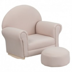 MFO Kids Beige Fabric Rocker Chair and Footrest