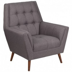 MFO Oxford Collection Contemporary Gray Fabric Tufted Arm Chair