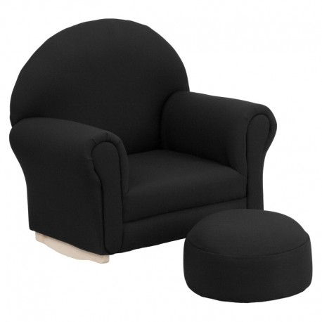MFO Kids Black Fabric Rocker Chair and Footrest
