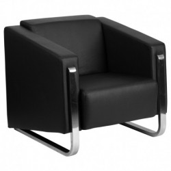 MFO Stanford Collection Contemporary Black Leather Chair with Stainless Steel Frame