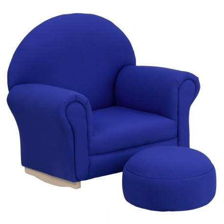 MFO Kids Blue Fabric Rocker Chair and Footrest