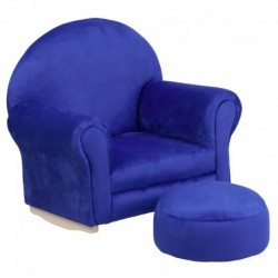 MFO Kids Blue Microfiber Rocker Chair and Footrest