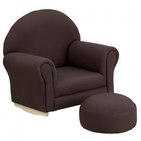 MFO Kids Brown Fabric Rocker Chair and Footrest