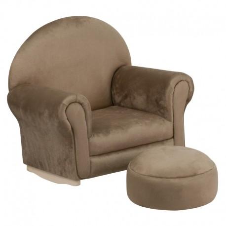 MFO Kids Brown Microfiber Rocker Chair and Footrest