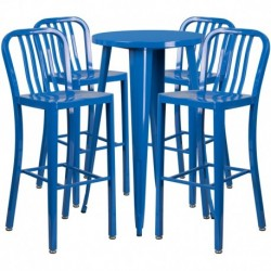 MFO 24'' Round Blue Metal Indoor-Outdoor Bar Table Set with 4 Vertical Slat Back Stools