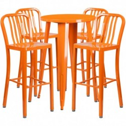 MFO 24'' Round Orange Metal Indoor-Outdoor Bar Table Set with 4 Vertical Slat Back Stools