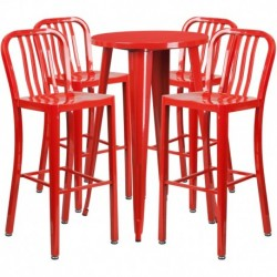 MFO 24'' Round Red Metal Indoor-Outdoor Bar Table Set with 4 Vertical Slat Back Stools