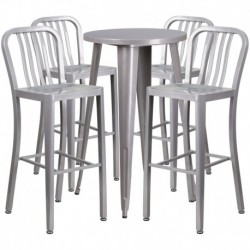 MFO 24'' Round Silver Metal Indoor-Outdoor Bar Table Set with 4 Vertical Slat Back Stools