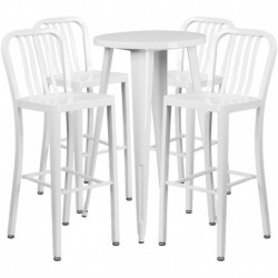 MFO 24'' Round White Metal Indoor-Outdoor Bar Table Set with 4 Vertical Slat Back Stools